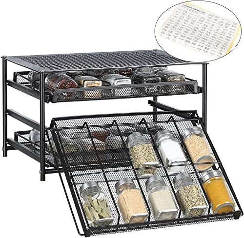3-Tier Spice Rack Organizer 30 Bottle Pull Out Spice Drawer Storage Shelf for Kitchen Cabinet Pantry Counter – Dark Brown