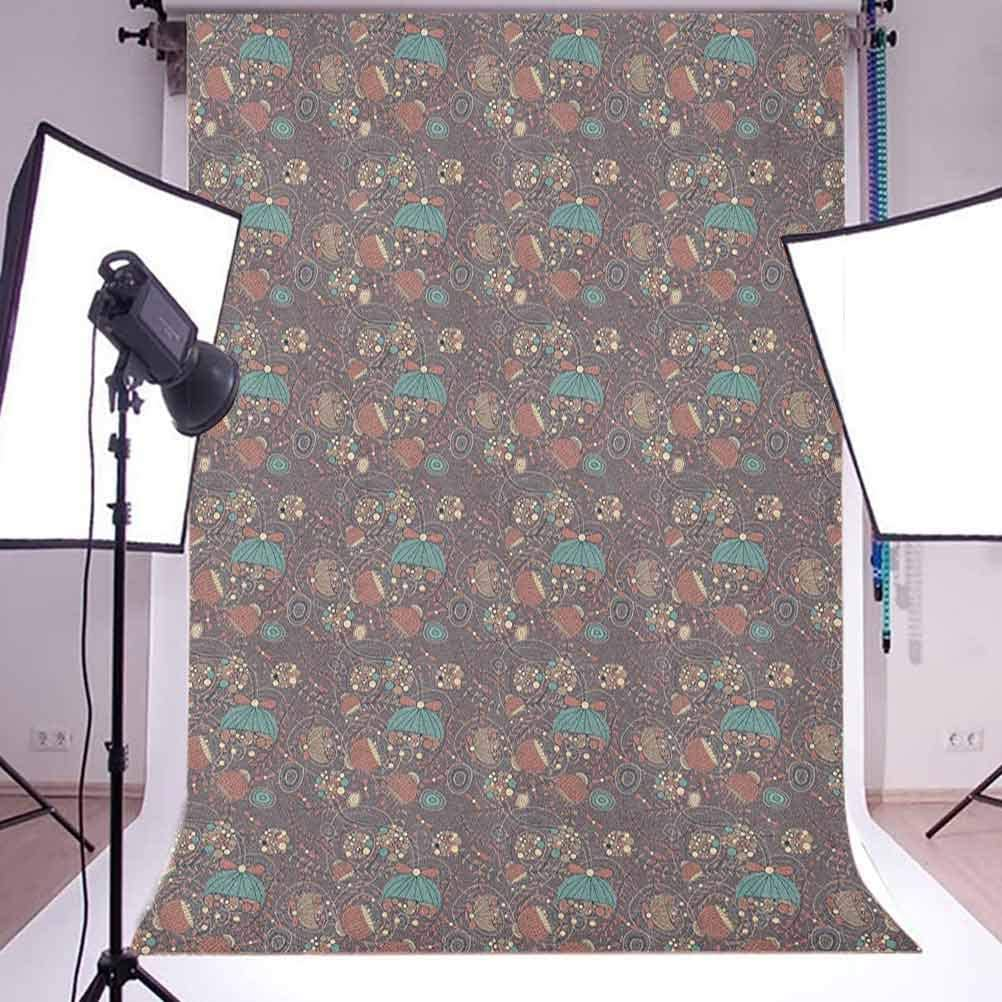 7x10 FT Lotus Vinyl Photography Backdrop,Folk Shabby and Floral Pattern with Arabesque Effects Boho Design Image Background for Photo Backdrop Baby Newborn Photo Studio Props
