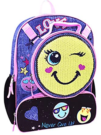 Amazon.com | Emoji Girls Backpack with Detachable Insulated Sequin ...