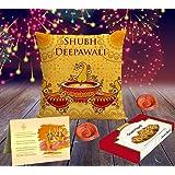Aart Combo of 4 Happy Diwali Hd Printed Cushion, Greeting Card, Handmade Diya and Sweets (Multicolor, AART_Di03_CMDD_D001)