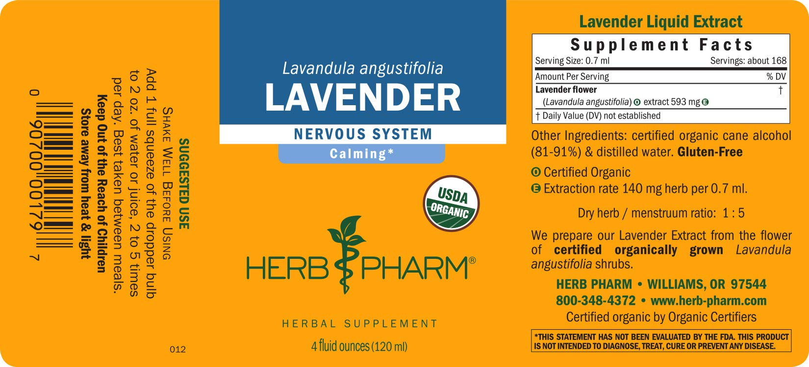 Herb Pharm Certified Organic Lavender Flower Liquid Extract for Calming Nervous System Support - 4 Ounce by Herb Pharm (Image #2)