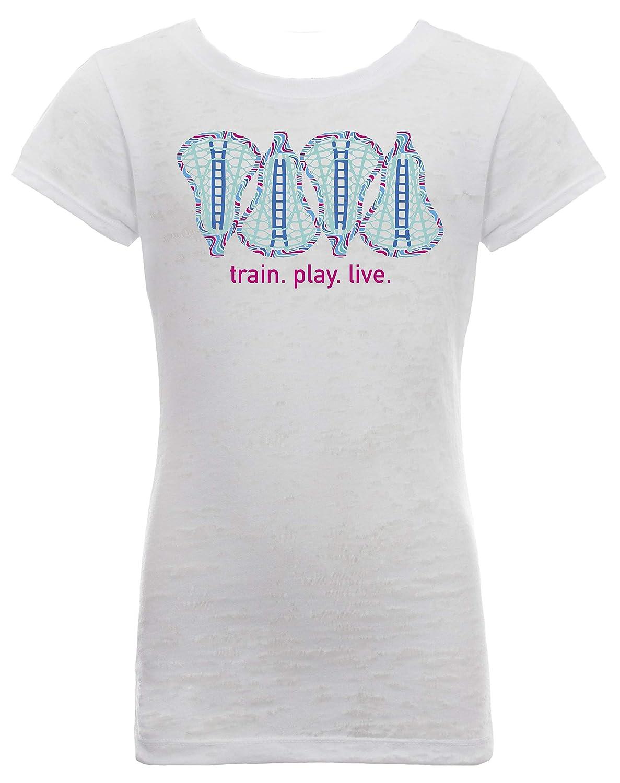 LAX SO HARD Girls Blue Wavy Lacrosse Head T-Shirt