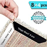 HAIOOU Rug Gripper, 8+4 Pcs Non Slip Rug Corner Grippers Anti Slip Rug Runner Carpet Tape with Renewable Adhesive Pad for Hardwood Floors, Ideal Area Rug Stopper to Keep Safety & Neat