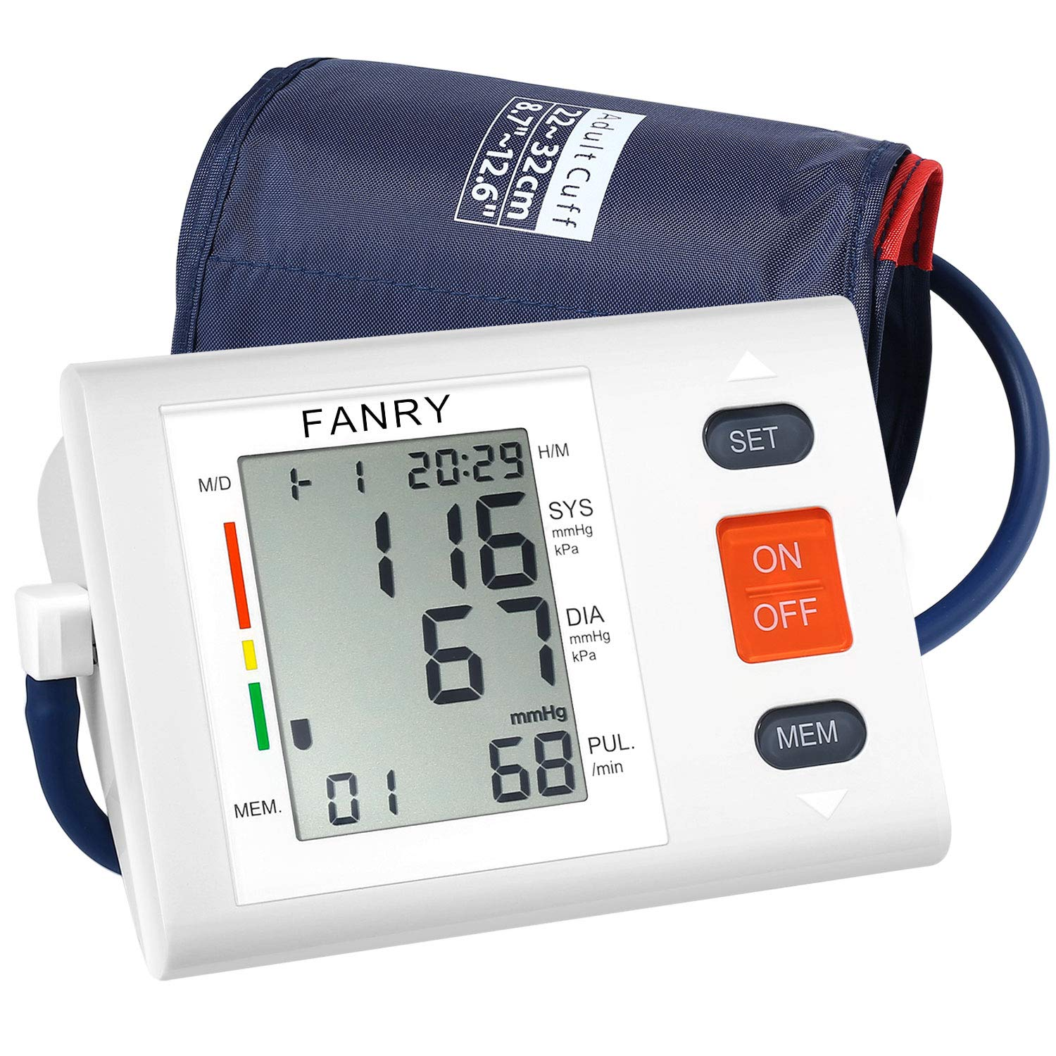 Blood Pressure Monitor Upper Arm,Accurate Automatic Digital Bp Machine with 8.7 -12.6 Adjustable Cuff for Home Use,Fast Reading Irregular Heartbeat and 90-Readings Memory,4AA Batteries Included