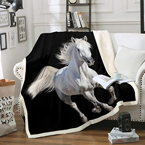 Amazon Com Feelyou Horse Blanket Galloping Horse Printed Throw Blanket For Kids Boys Girls Teens Ultra Soft 3d Wild Animal Sherpa Blanket Wildlife Fleece Blanket Black And White Room Decor Twin 60 X80 Home
