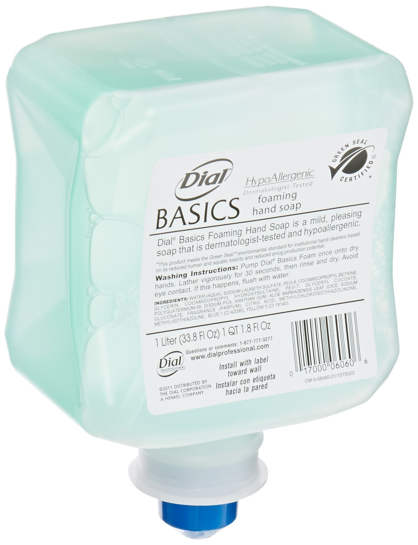 Dial 1324680 Basics Hypoallergenic Foaming Hand Lotion Soap, 1 Liter Refill (Pack of 6) by Dial (Image #2)