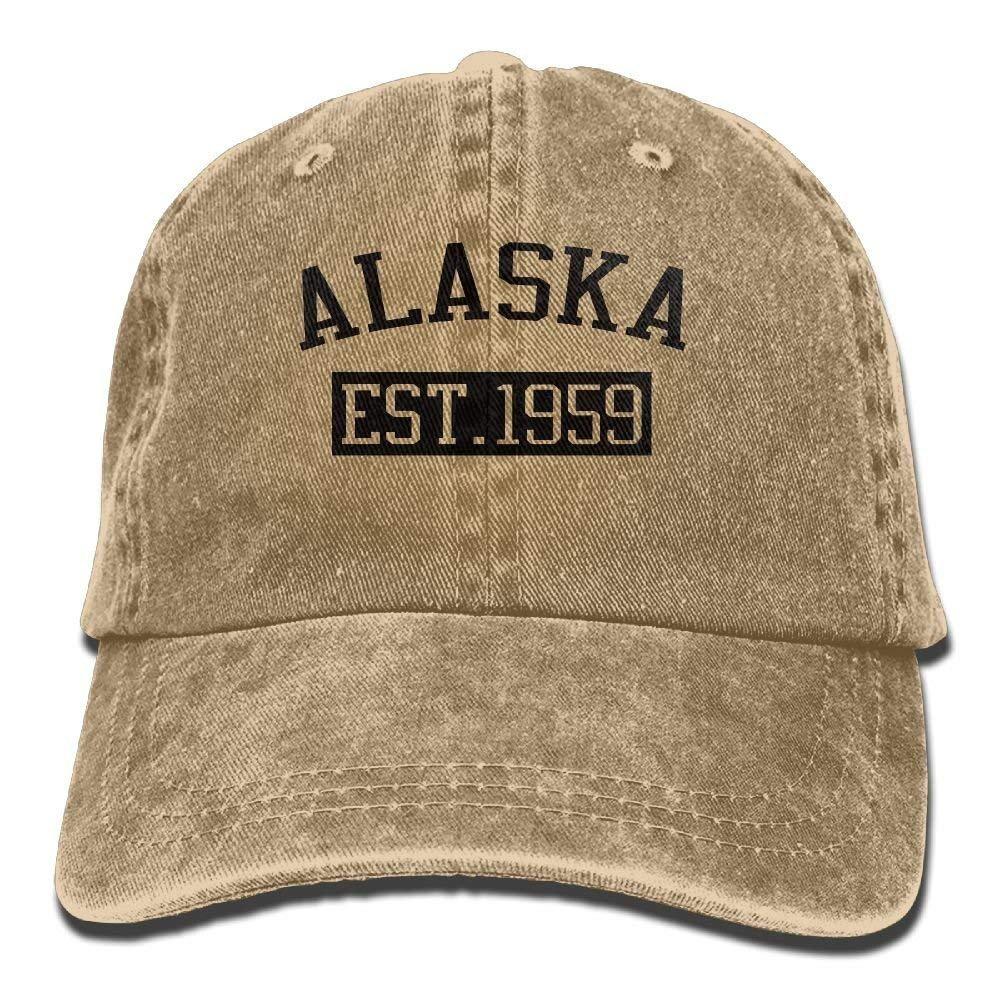 Alaska EST 1959 Trend Printing Cowboy Hat Fashion Baseball Cap for Men and Women Black JTRVW Cowboy Hats