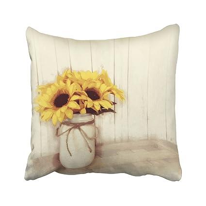 Amazon Capsceoll Rustic Country Sunflowers Mason Jar Decorative Best Decorate Pillow Cases