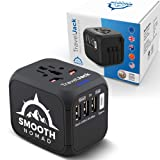International Travel Adapter - SmartPower Plug Converter forEurope, Asia, Africa, America -European Travel Adapter with USB, Type-C WallOutlet Charger -Plug and Lock, Safety Surge Protection