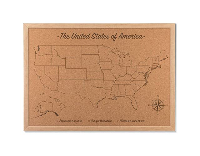 Cork Board Map Push Pin United States Map Includes 100 Map Pins 5th