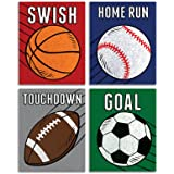 Elegant Signs Sports Decor for Boys Room - Set of 4 (Football, Basketball, Baseball, Soccer) 8x10 Wall Art Prints for Decorat