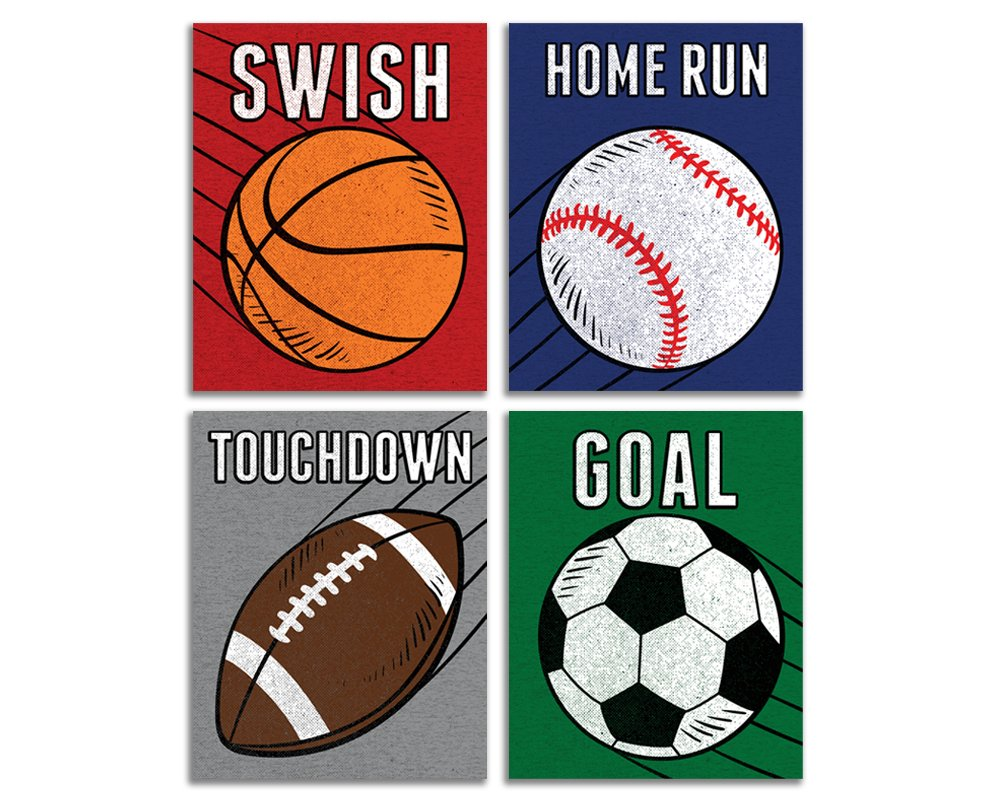 Elegant Signs Sports Decor for Boys Room - Set of 4 (Football, Basketball, Baseball, Soccer) 8x10 Wall Art Prints for Decoration