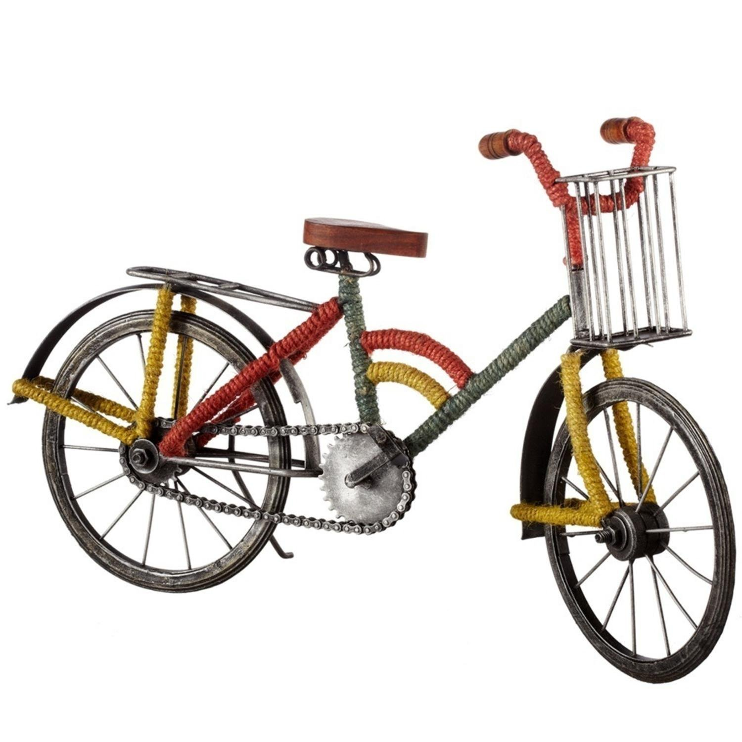 Diva At Home Set of 2 Multi Color Bicycle with Basket and Jute Wrap Table top Figurine 19.5'' by Diva At Home
