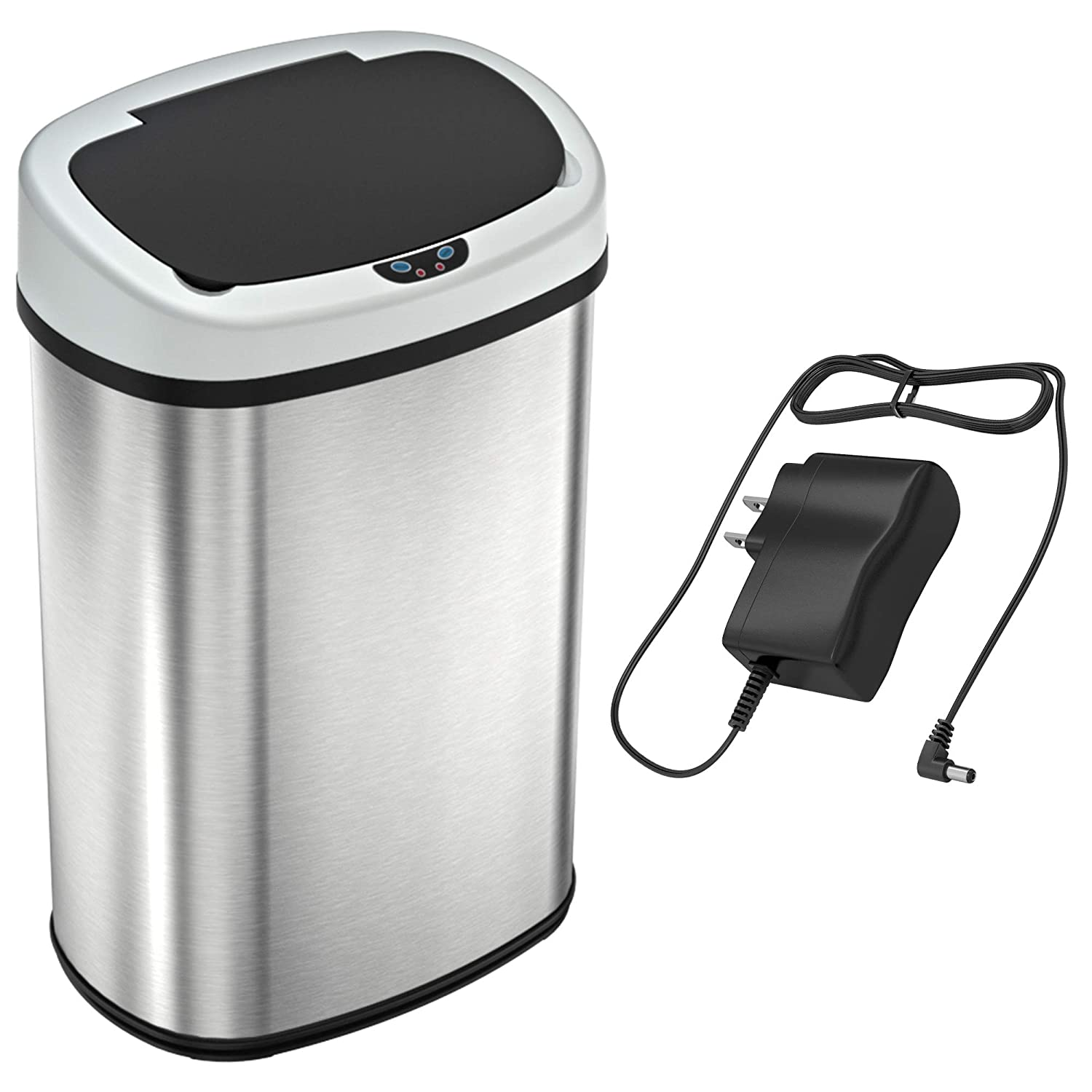SensorCan Automatic Touchless Sensor Kitchen Trash Can with Odor Filter Kit - Stainless Steel – 13 Gallon / 49 Liter – Oval Shape