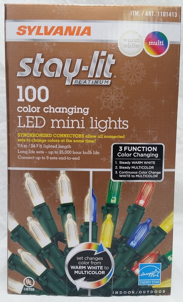 Sylvania Stay Lit Platinum 100 3 Function Color Changing LED Mini Lights Warm White Multi 2017 New improved Connectors