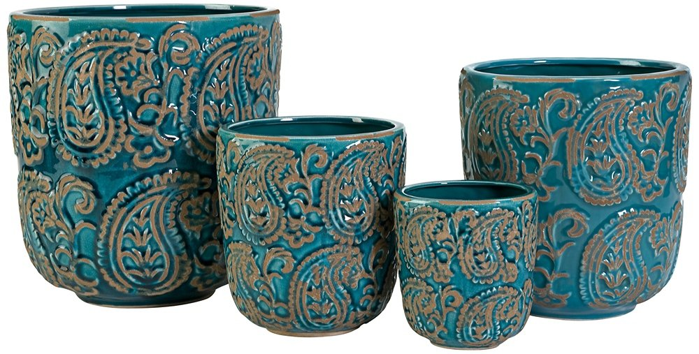 Com Imax 64329 4 Paisley Handcrafted Planter Set Of In Soft Blue Ceramic  Pots For Balcony