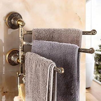 Toallero Giratorio de 3 Barras Espacio de Aluminio Estilo Europeo Baño Tallado Toalla Toalla de baño Toalla de Pared Barra para Colgar Toallero Antiguo ...