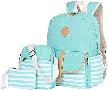 Amazon Com Bluboon Teens Canvas Backpack Girls School Bags Set