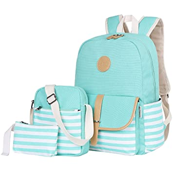 856546b9407918 Amazon.com: BLUBOON Teens Canvas Backpack Girls School Bags Set Bookbags  Shoulder bag Pouch 3 in 1 (Water Blue): SUPON