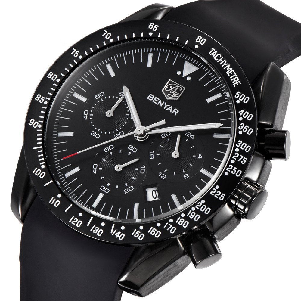 Watches for Men, Chronograph Sport Waterproof Watch Date Quartz Wrist Watch for Black Silicone Band by BENYAR