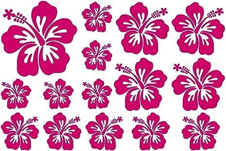 Samunshi Hibiskus Aufkleber Creativ Set Hibiskusblüten In 5 Größen Und 25 Farben 30x20cm Pink Küche Haushalt