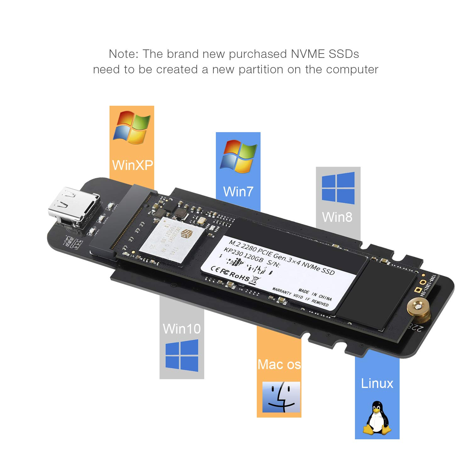 USB 3.1 Type-C to M.2 NVMe SSD Adapter,M-Key PCI-E NVMe SSD Based to USB 10GBPS External M.2 PCI-E NVMe Hard Drive Reader Adapter Support Drive Type 2230 2242 2260 2280 by CHOETECH (Image #5)