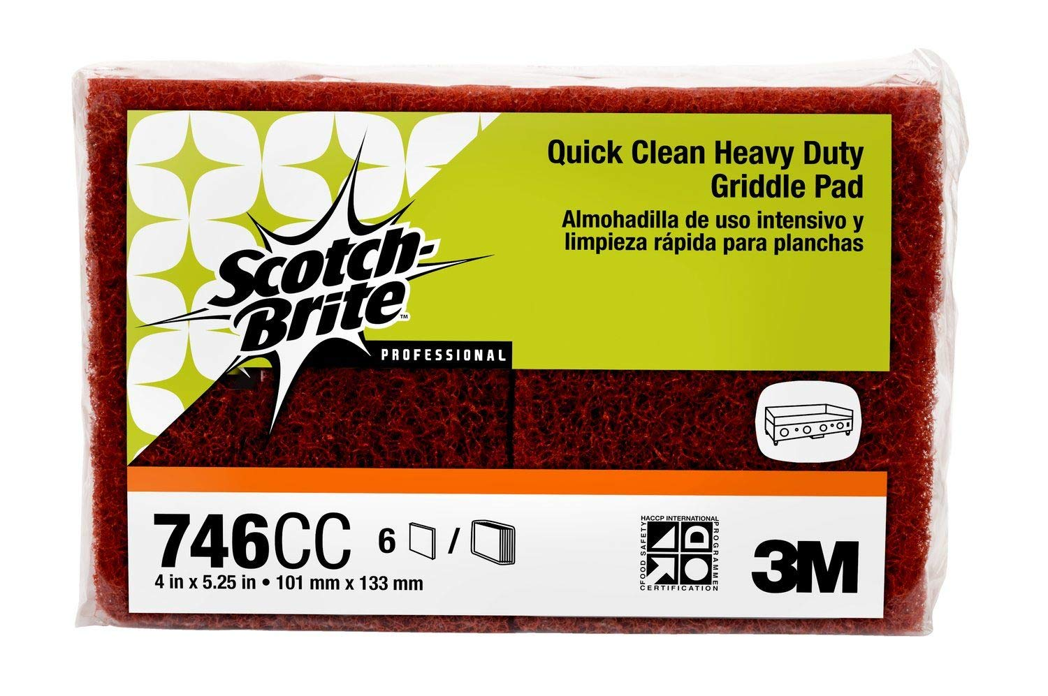 "Scotch-Brite 746 Quick Clean Heavy Duty Griddle Pad, 5-1/4"" Length x 4"" Width x 0.8"" Thick (Case of 15)"