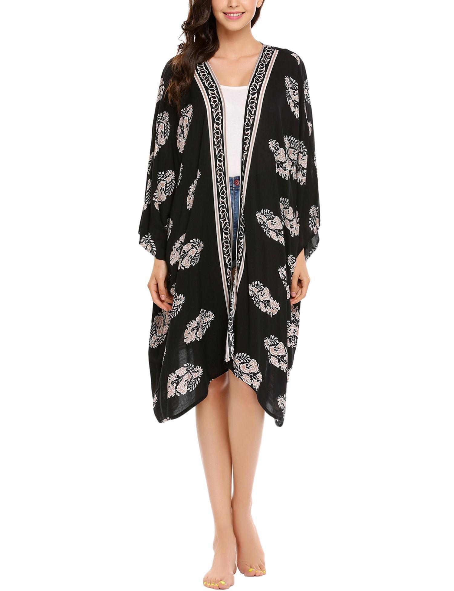 Zeagoo Women's Cute Floral Chiffon Kimono Cardigan Blouse Beach Cover up Black M