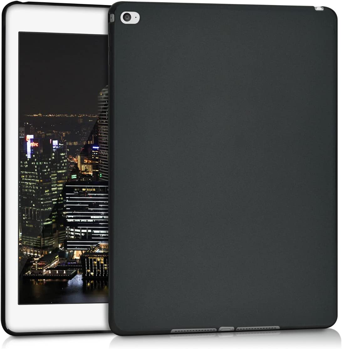 kwmobile TPU Silicone Case Compatible with Apple iPad Air 2 - Case Soft Flexible Shock Absorbent Cover - Black Matte