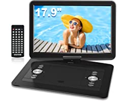 """WONNIE 17.9"""" Portable DVD/CD Player with 15.4"""" Large Swivel Screen, 1366x768 HD LCD TFT, Built-in 6 Hrs 5000mAH Rechargeable"""