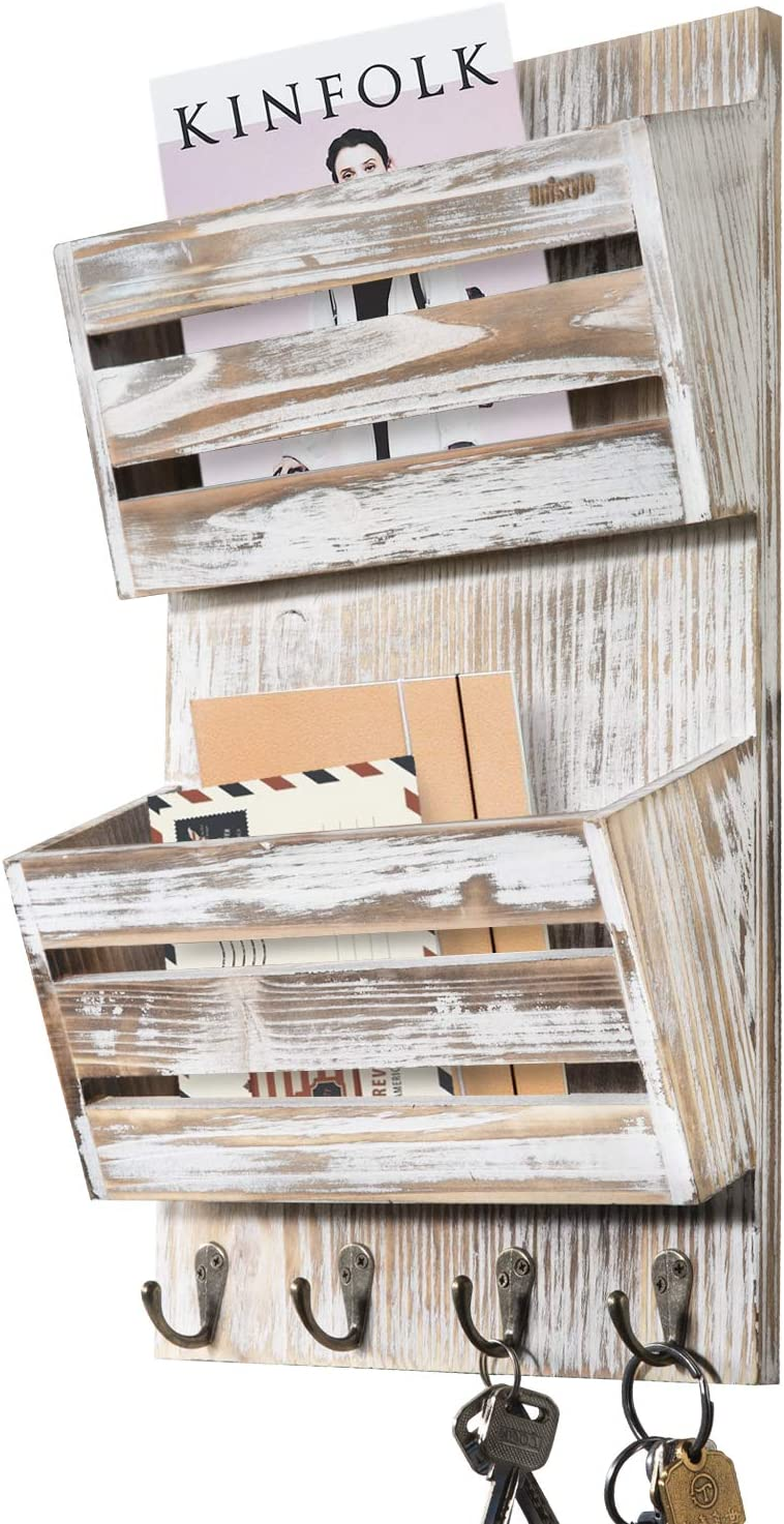 Unistyle Rustic Wooden Mail Holder Wall Mounted with 4 Key Hooks, 2-Slot Mail Organizer,Mail and Key Holder for Wall Decoration, Mail Sorter for Wall 100% Solid Wood (Rustic White)