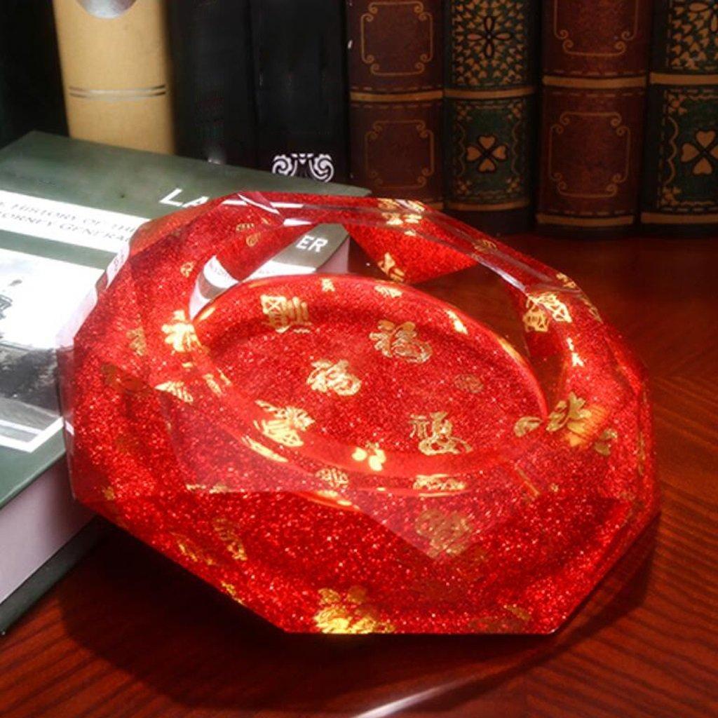 Xuan - worth having フーパターンオクタゴンブライトカラースタイルクリスタルガラス灰皿ファッション創造的なパーソナリティギフト (サイズ さいず : 25*25*5cm) 25*25*5cm  B07D5TPTWG