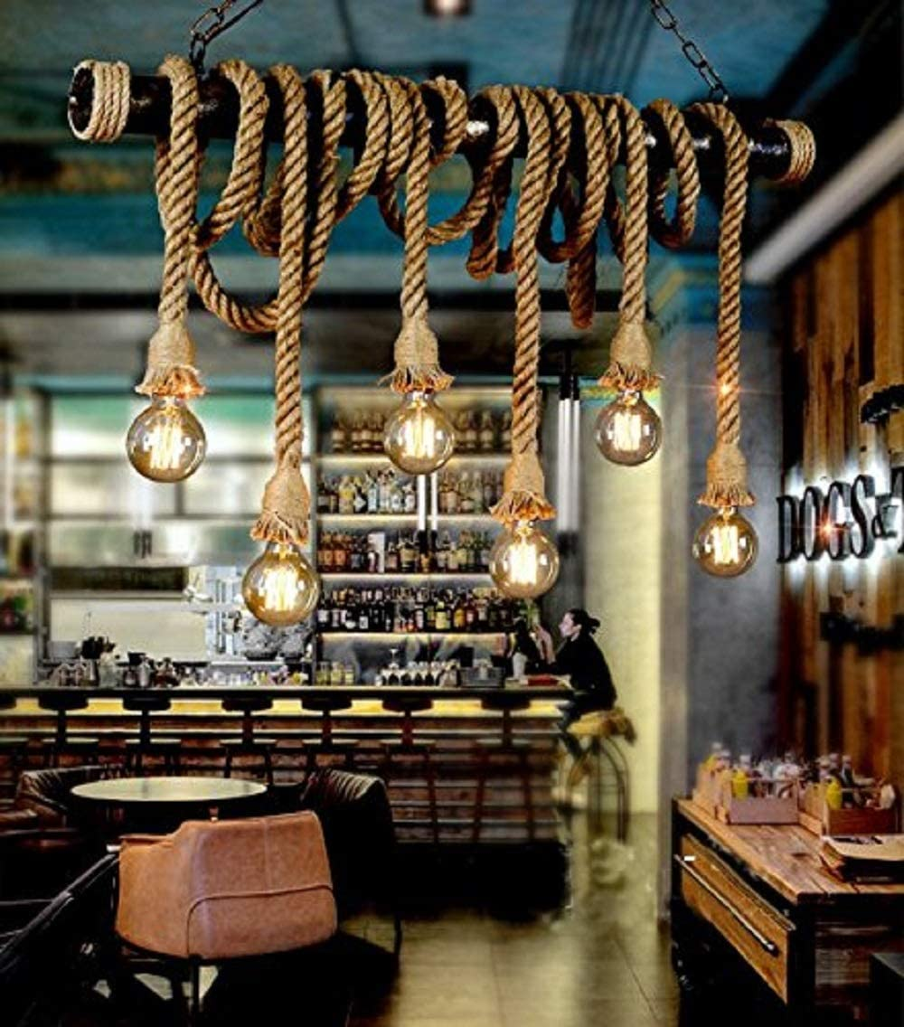 SUSUO Lighting Retro 6 Lamp Hemp Rope Chandelier Twisted Flaxen Rope Country Style Pendant Lights 1