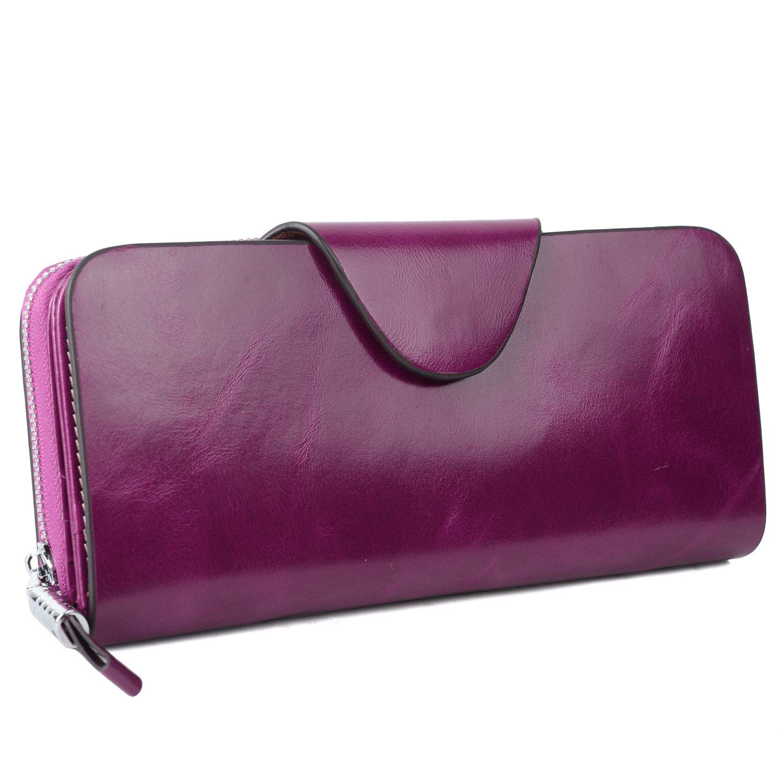 YALUXE Women's RFID Blocking Large Tri-fold Leather Wallet Ladies Luxury Zipper Clutch Fuchsia