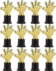Juvale Pack de 12 Mini Trofeos – Premio Trophy – Trofeo Premio Trofeo – trofeos de plástico – para niños, Oro, Negro: Amazon.es: Deportes y aire libre