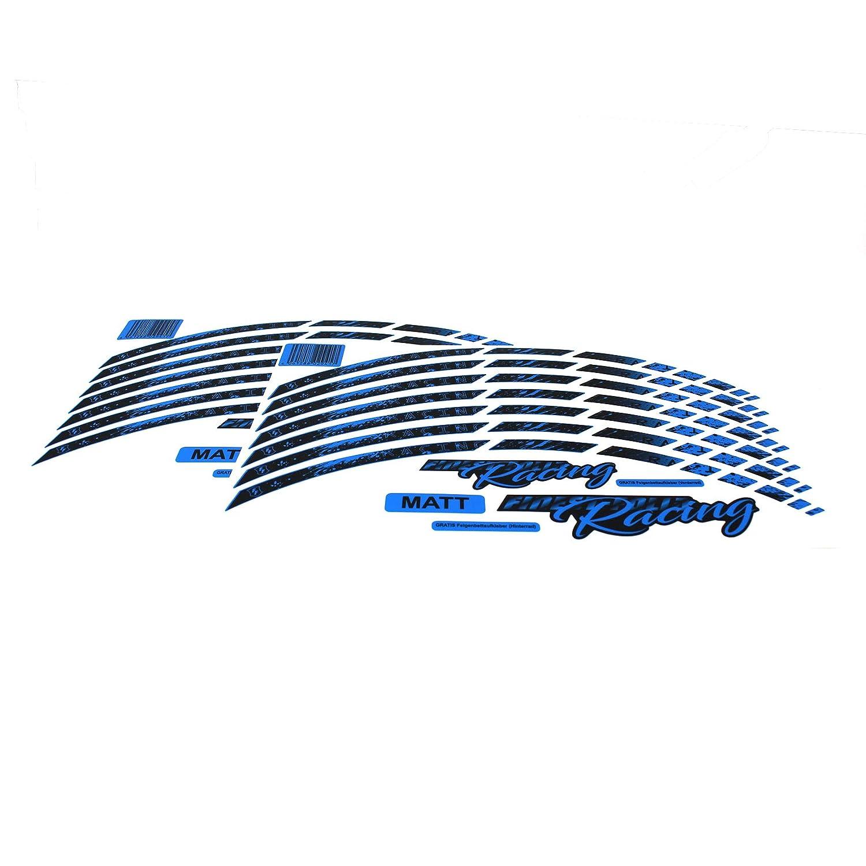 Neon Blau, Glanz Felgenbettaufkleber Komplett-Set Finest Folia passend f/ür 17 Zoll /& 16 18 19 Felgen Motorrad Auto Fahrrad 18 Teiliges Felgenrandaufkleber Neon Line Felgendesign inkl
