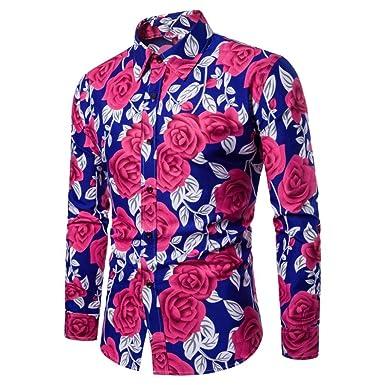 861ade77ee378 Camisas De Hombre Manga Larga Flores Camisas Estampadas Hombre Manga Larga ❤️AIMEE7  Camisas Vintage Hombre