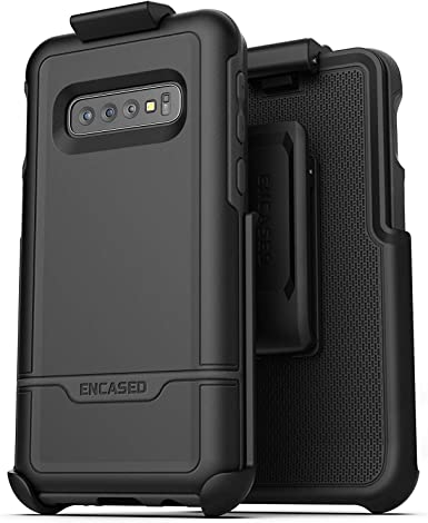 Encased Galaxy S10 Battery Case with Belt Clip Black Rebel Power Protective Charging Case with Holster for Samsung Galaxy S10