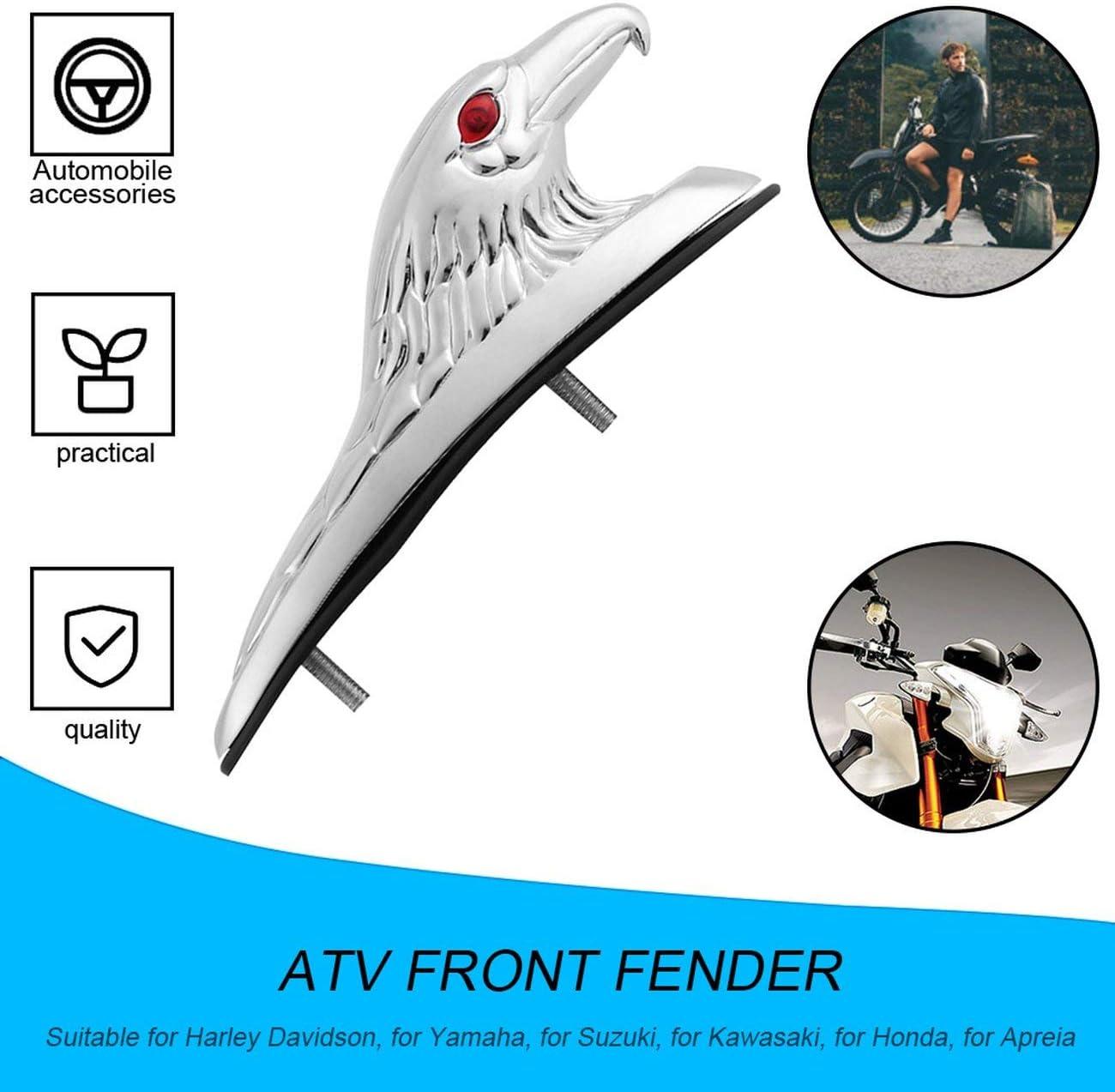 Chrome Adler-Kopf-Form-Entwurf ATV Kotfl/ügel vorne Frame Ornament Kotfl/ügel vorne Akzent St/ück f/ür Motorrad-Motorrad-Auto-M/ütze