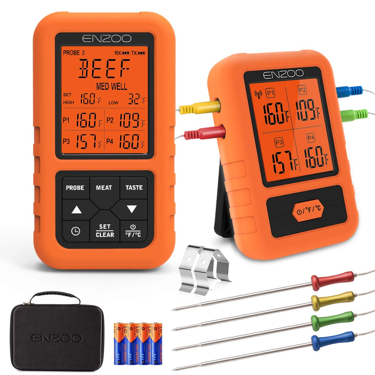 Digital Meat Thermometer for Grilling,ENZOO 2019 the Newest 500FT Wireless Ultra Fast Cooking Food Thermometer with 4 Probes,178°Wide View Angle Meat Thermometer for Kitchen, BBQ,Smoker,Milk by Cadence