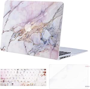 MOSISO MacBook Air 11 inch Case (Models: A1370 & A1465), Plastic Pattern Hard Shell Case & Keyboard Cover & Screen Protector Compatible with MacBook Air 11 inch, Colorful Marble