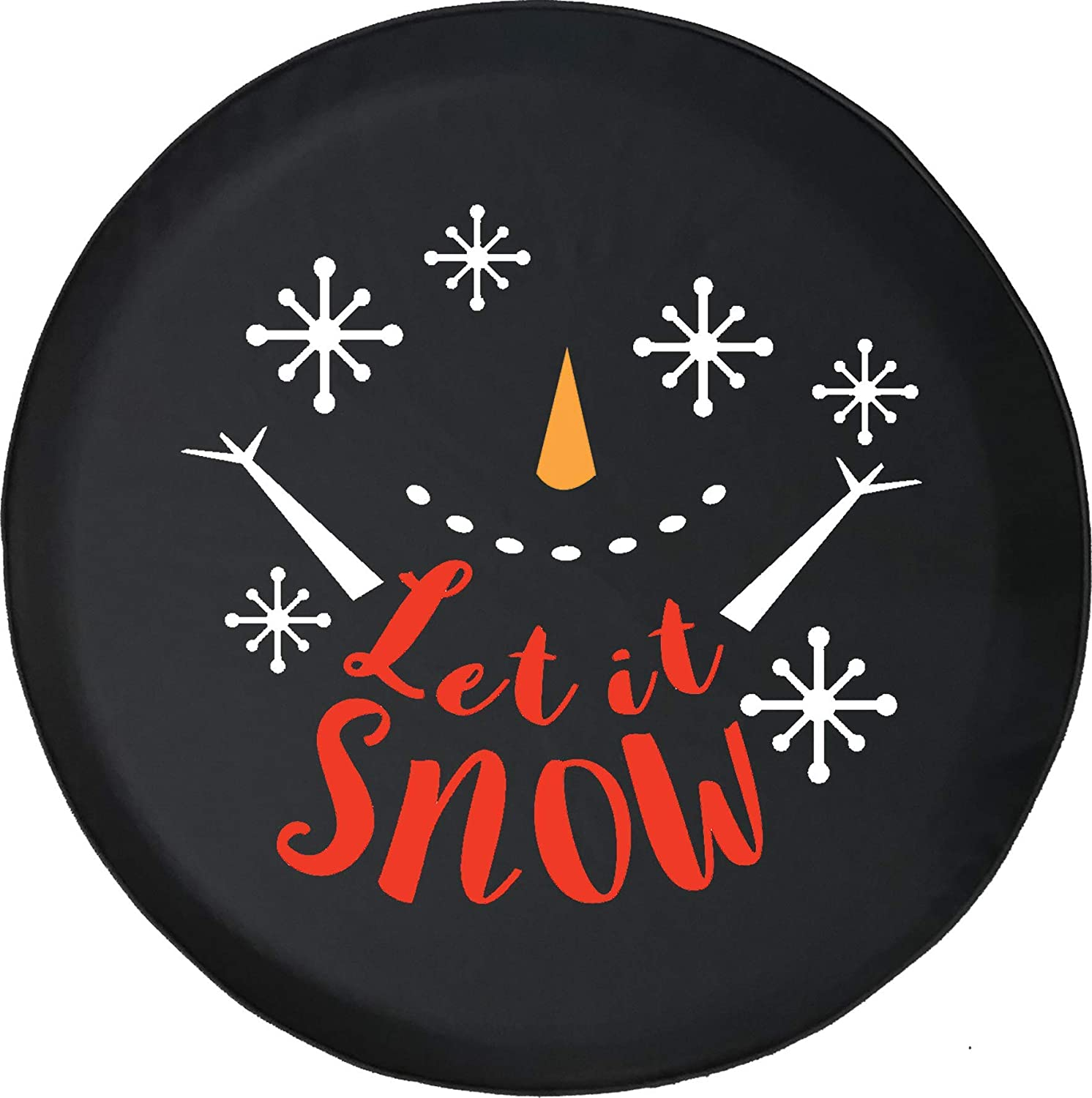 556 Gear Let It Snow Happy Snowman Snowflakes Winter Wonderland Cold Fun Jeep Spare Tire Cover Black 33 in