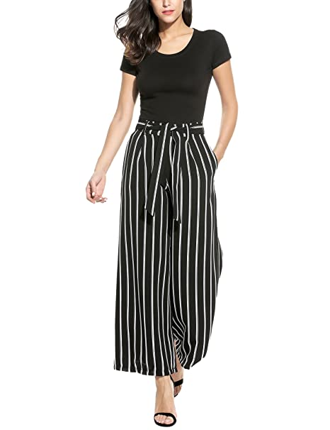 8564242c2a5705 Zeagoo Women's Super Comfy Stripe Flowy Wide Leg High Waist Belted Palazzo  Pants Capris,Black
