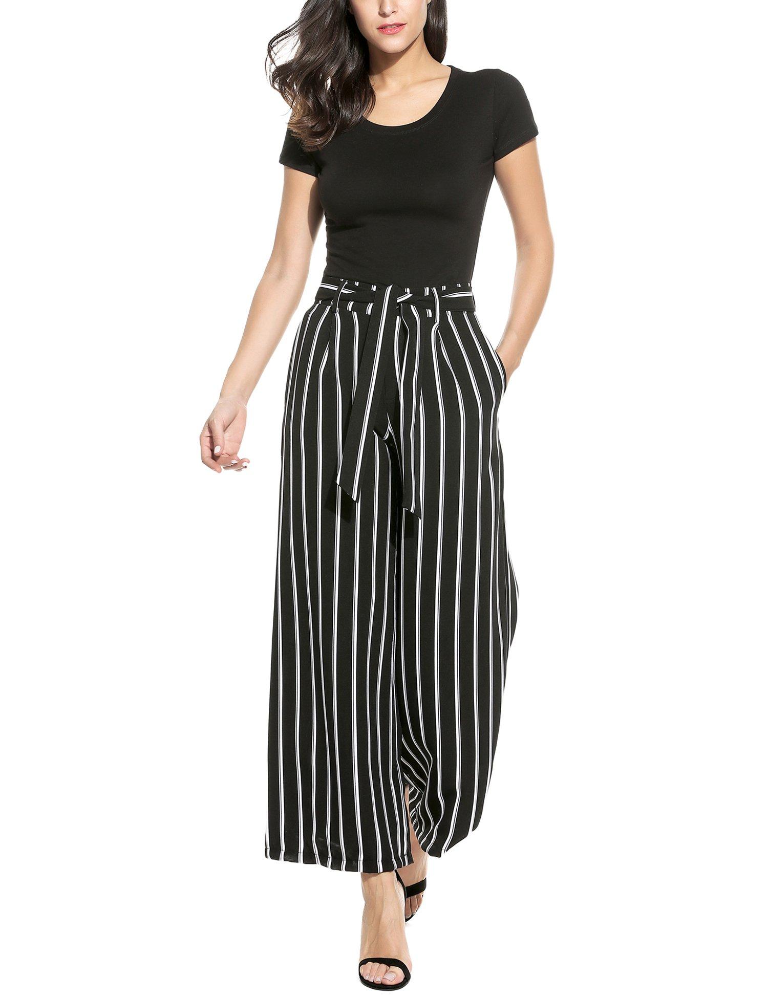 Zeagoo Women's Super Comfy Stripe Flowy Wide Leg High Waist Belted Palazzo Pants,Black,Large