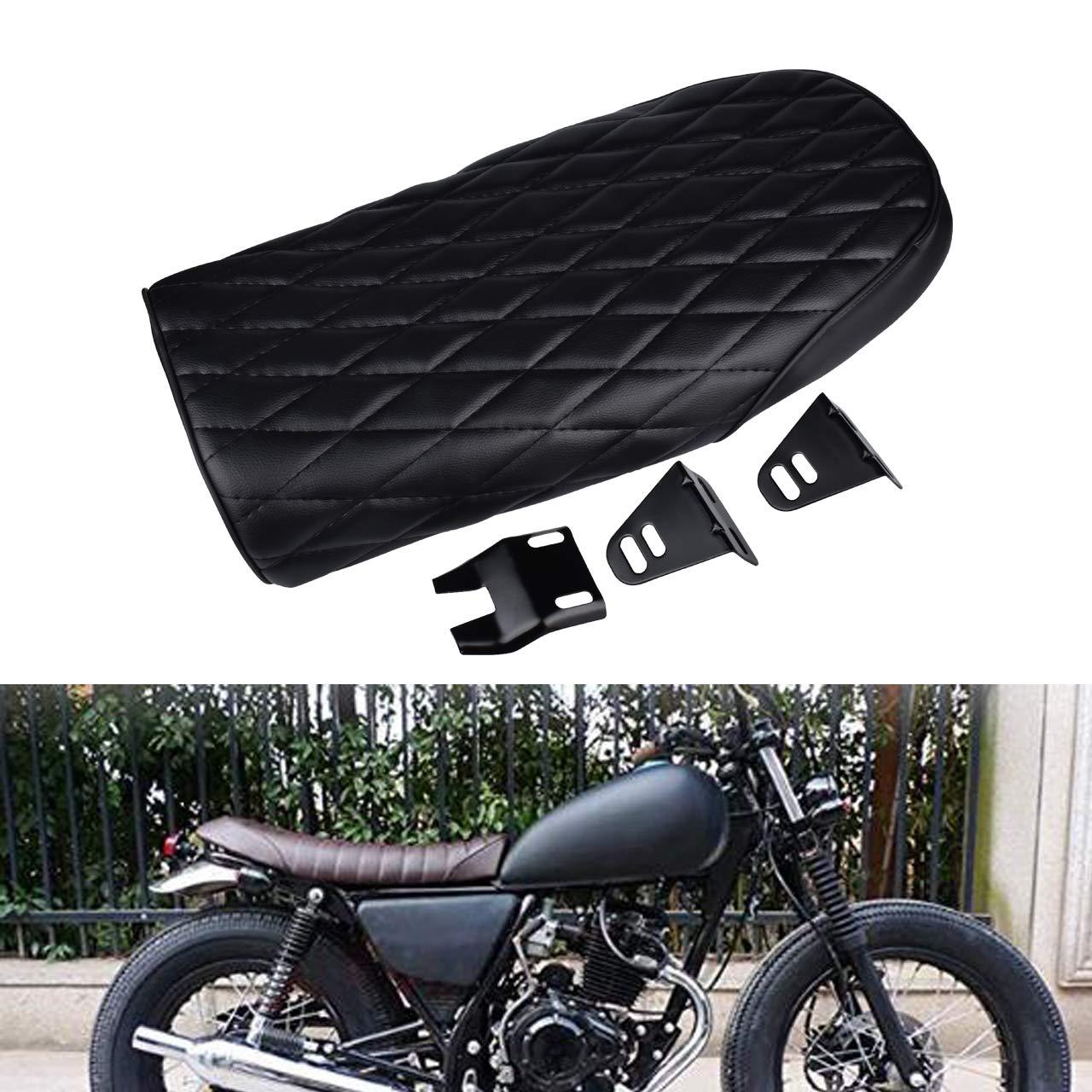 TUINCYN Moto Cafe Racer Seat ré tro Diamant Plat Brat Noir Style Coussin d'assise Selle Noir avec Filetage pour Honda (Lot de 1)