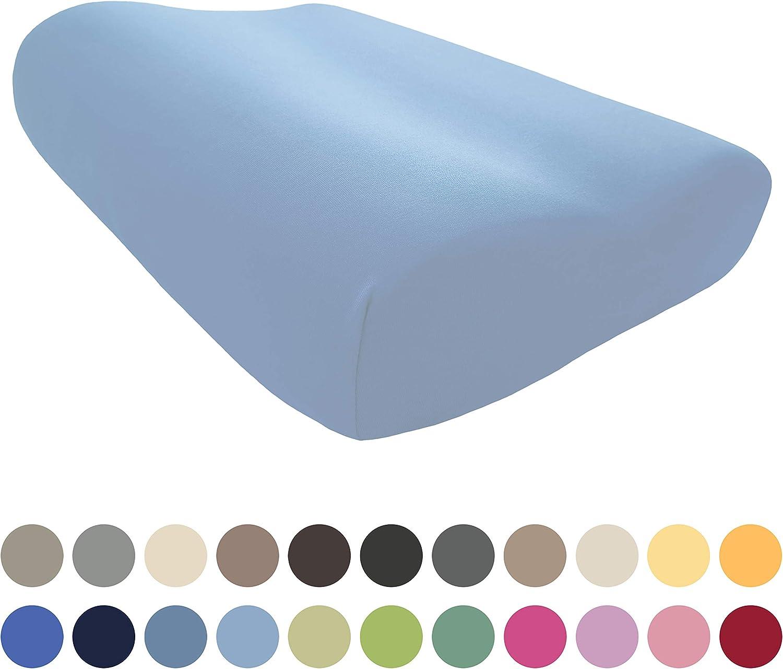 EddaLux - Funda para almohada Tempur Original S/M/L/XL, de alta calidad, para almohada cervical, 50 x 31 cm, 50 x 30 cm, 100% algodón, en muchos colores, azul claro, 50 x 31 cm