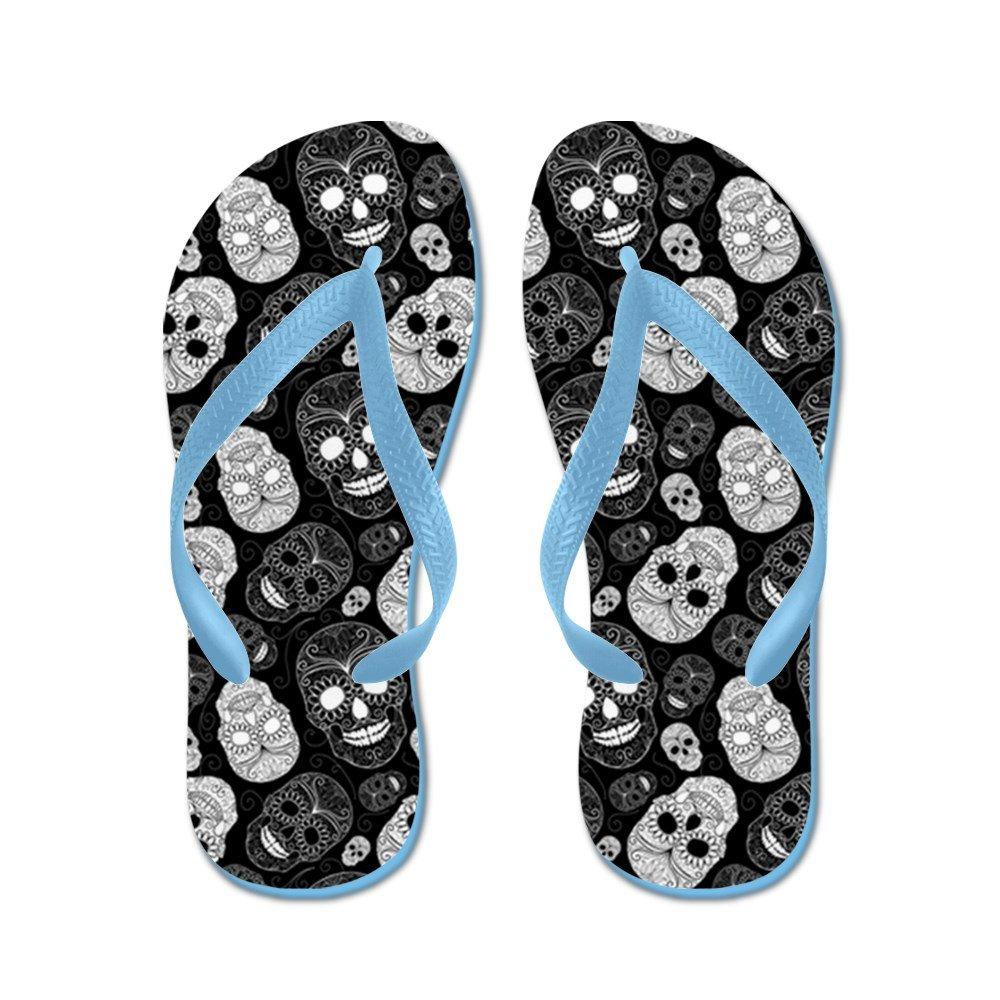 CafePress Sugar Skulls Black and White - Flip Flops, Funny Thong Sandals, Beach Sandals