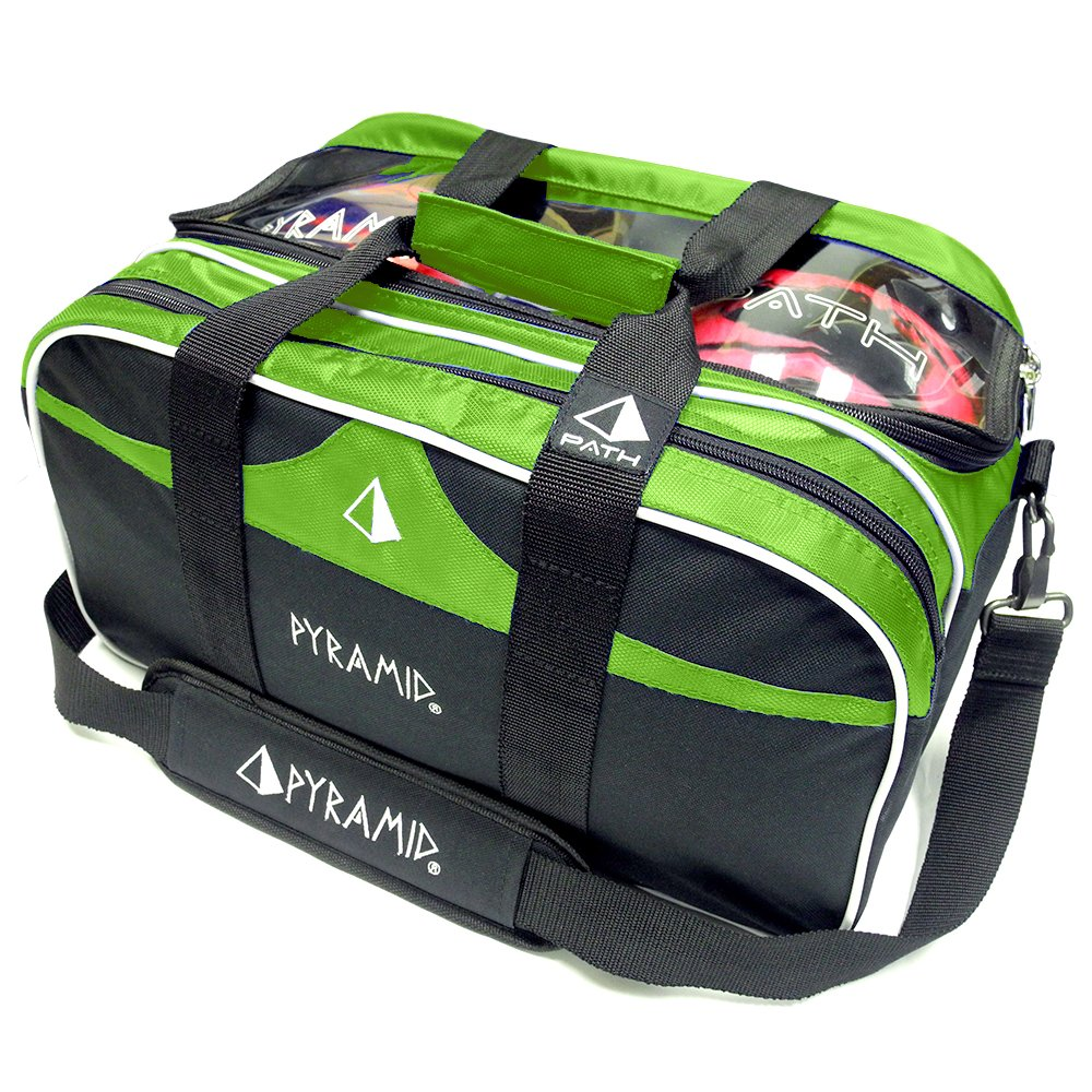 Path Double Tote Plus Clear Top Bowling Bag (Lime)