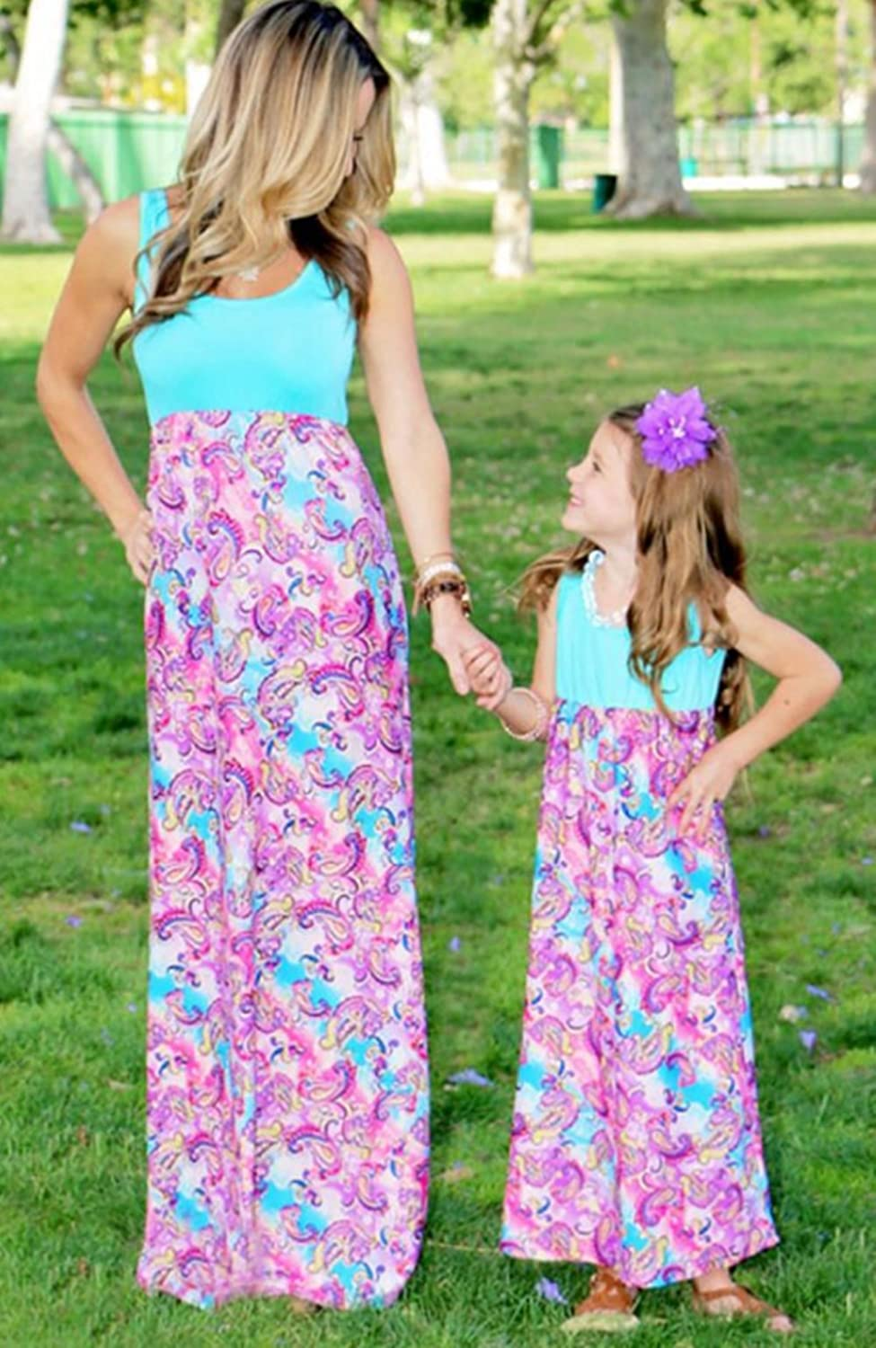 f2d6dc2e7994 Amazon.com: Mommy and Me Fashion Floral Print Sleeveless Dress Beach Party  Maxi Sundress: Clothing