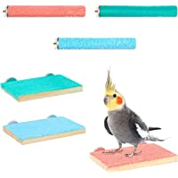 Zodaca Wooden Bird Perches with Springboard and Mill Claw Rod (3 Colors, 6 Pieces)